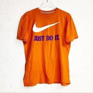 Nike Mens T Shirt Orange Purple Just Do It Logo M
